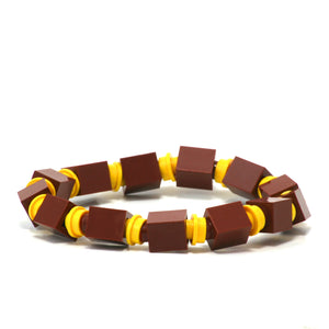 brown & yellow beaded bracelet