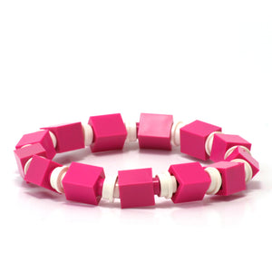 dark pink & white beaded bracelet