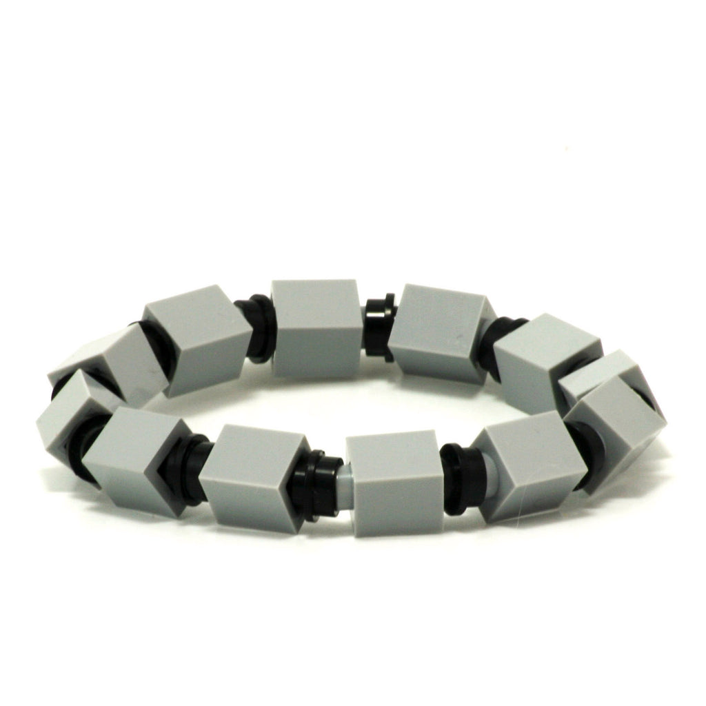 light grey & black beaded bracelet