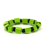 lime & black beaded bracelet