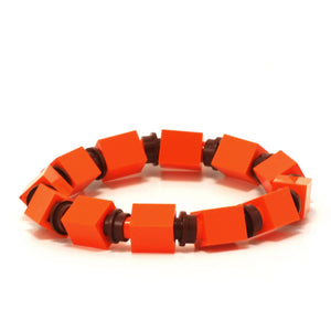 orange & brown beaded bracelet