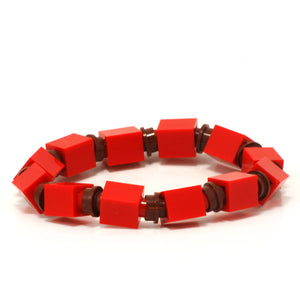 red & brown beaded bracelet