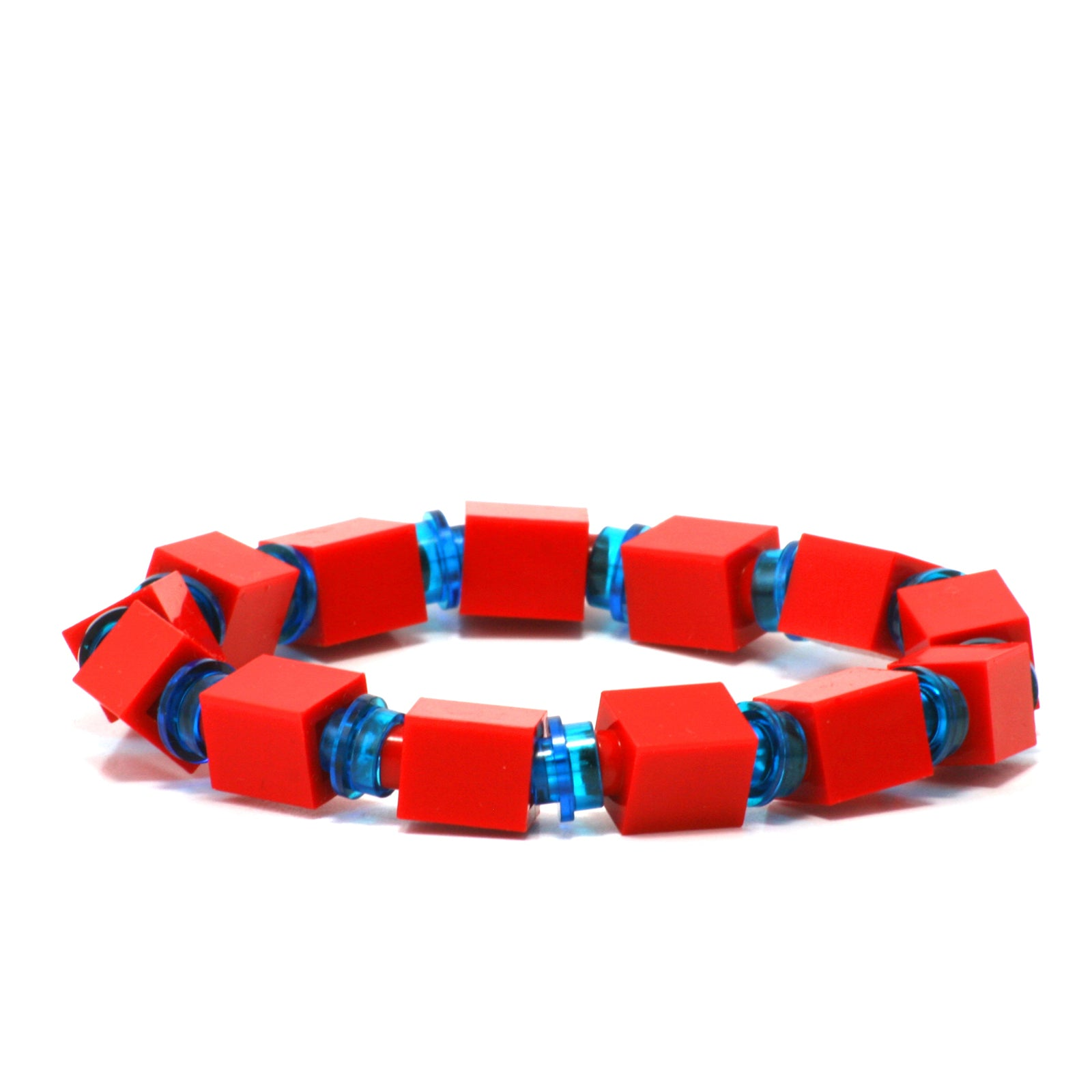 red & transparent blue beaded bracelet