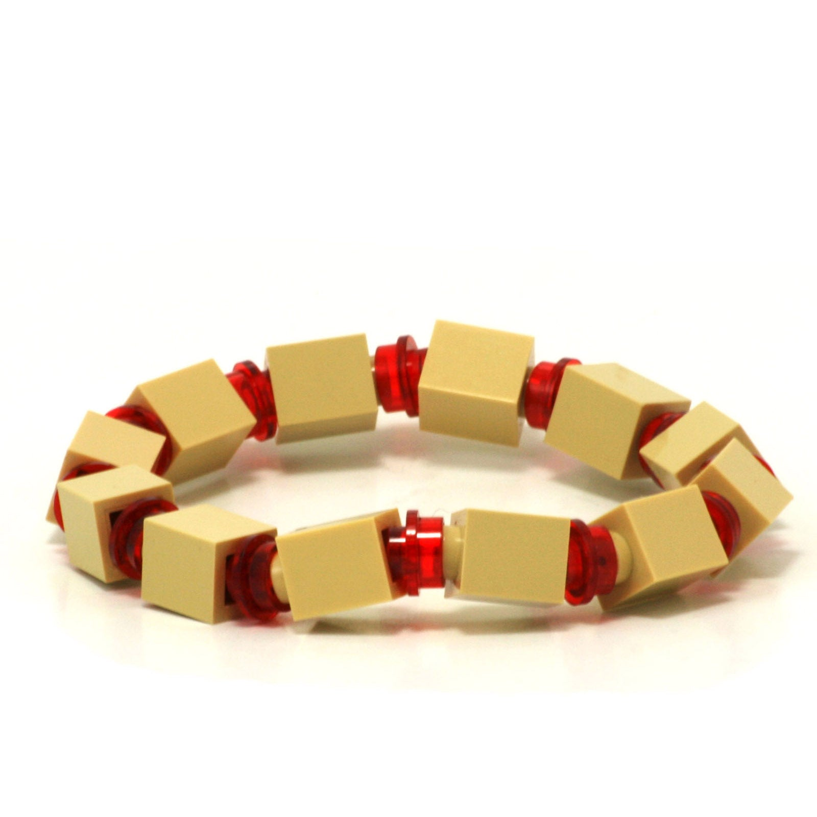 tan & transparent red beaded bracelet