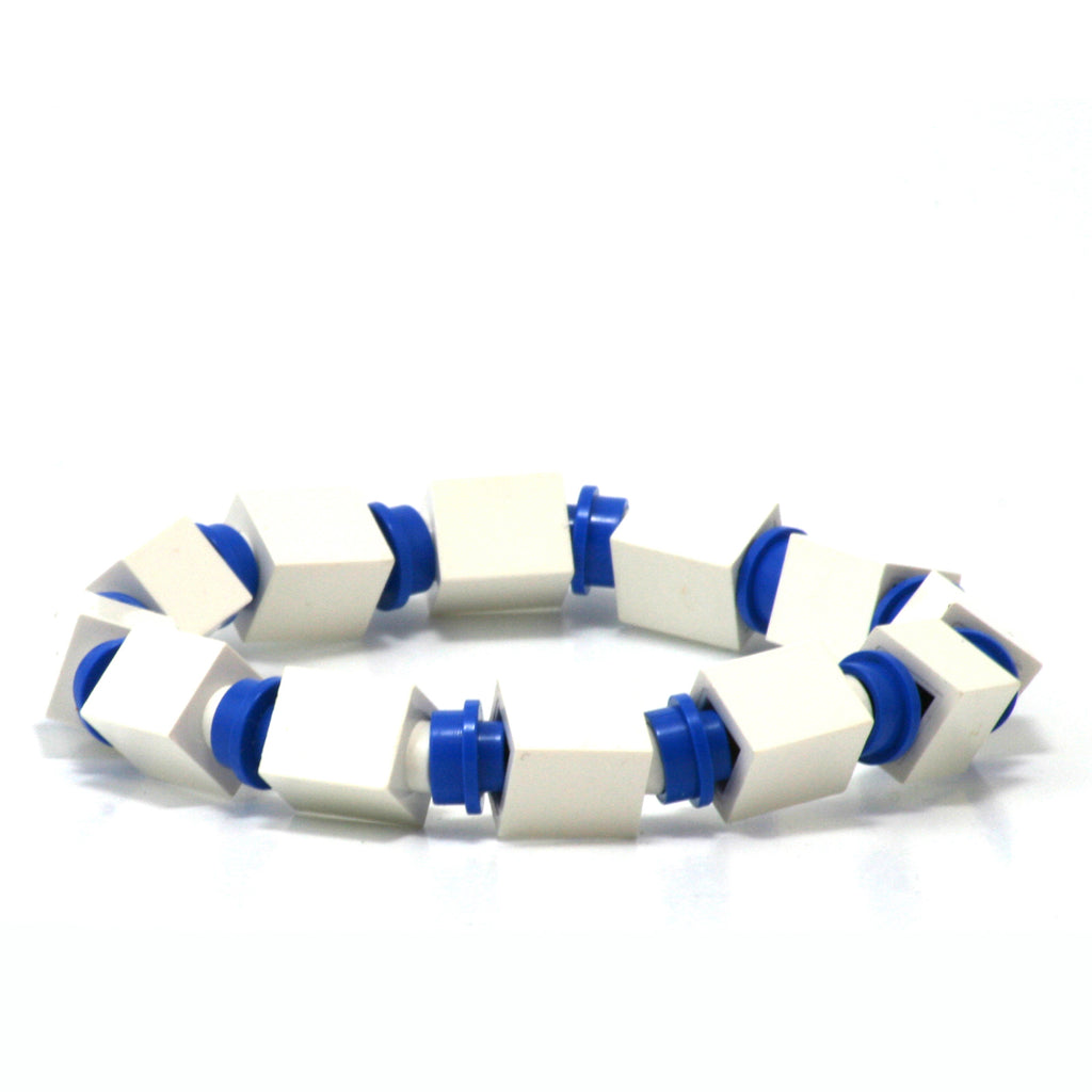 white & blue beaded bracelet