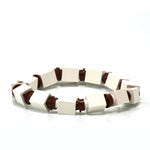 white & brown beaded bracelet