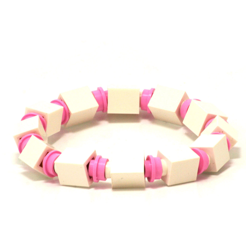 white & light pink beaded bracelet