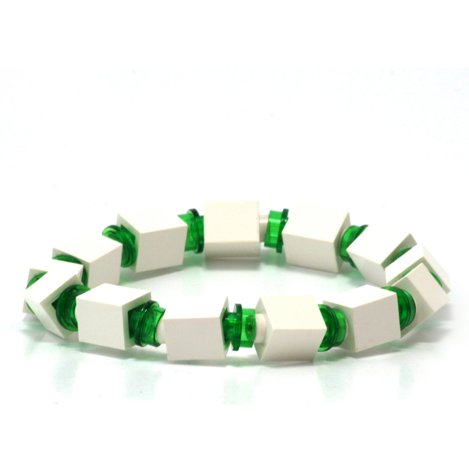 white & transparent green beaded bracelet