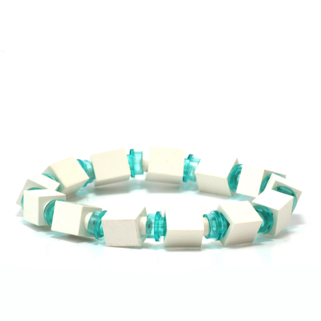 white & transparent light blue beaded bracelet