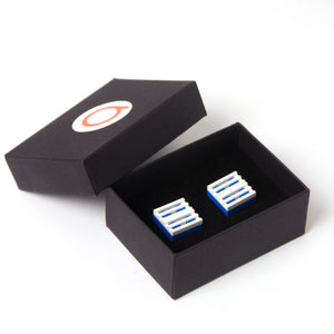 blue & white grill cufflinks