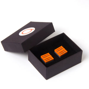 dark grey & orange grill cufflinks