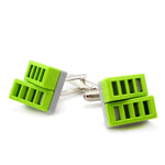 light grey & lime grill cufflinks