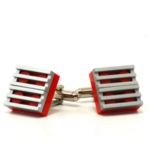 red & silver grill cufflinks