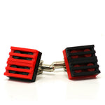 black & red mix grill cufflinks
