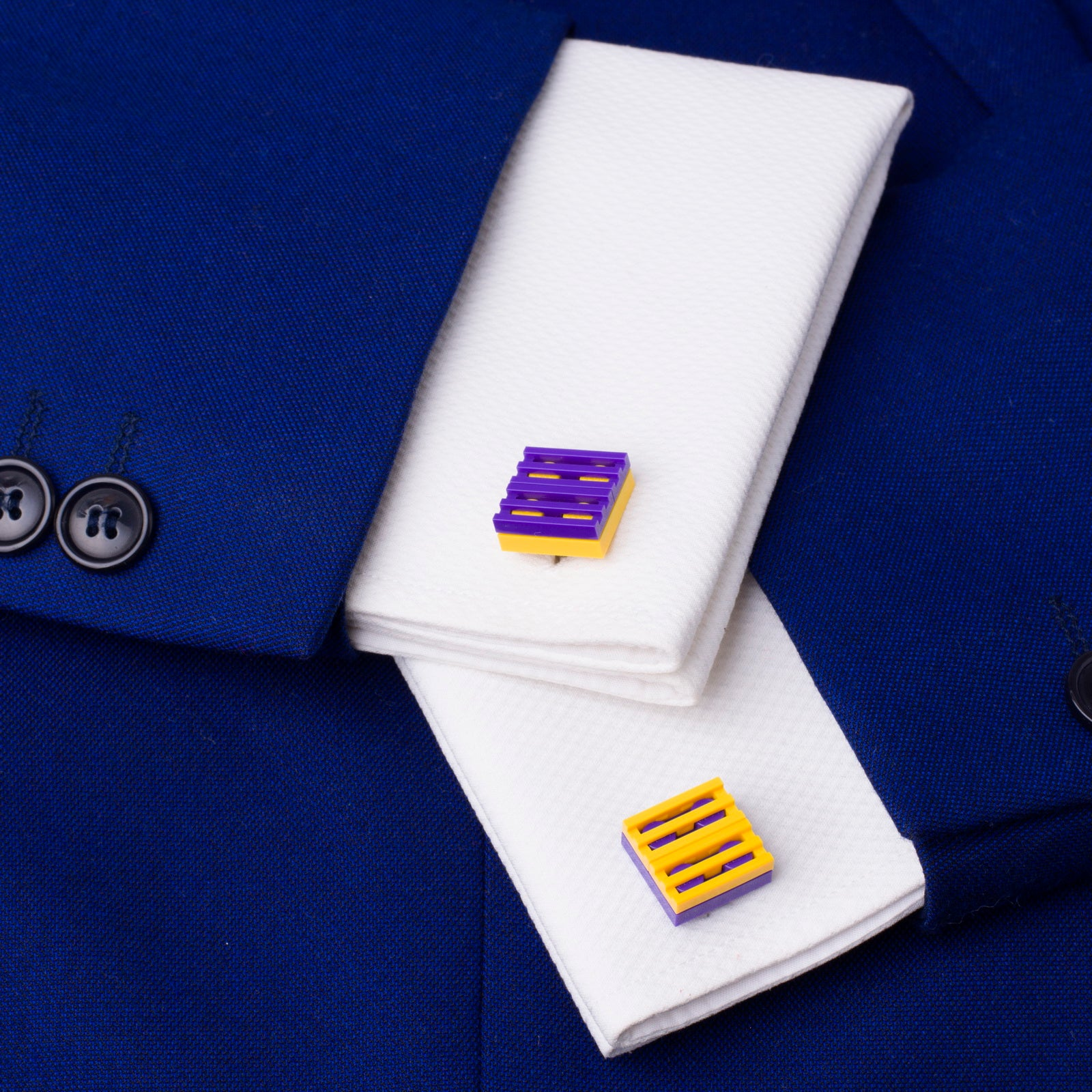 yellow & purple mix grill cufflinks