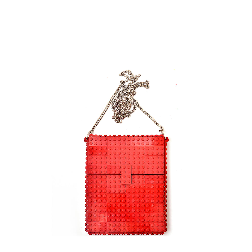 Dark red hip clutch on a chain
