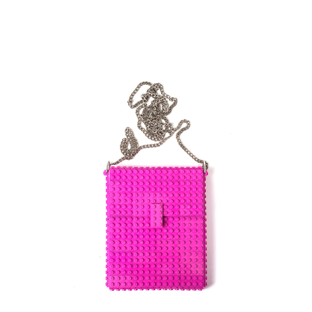 Dark pink hip clutch on a chain