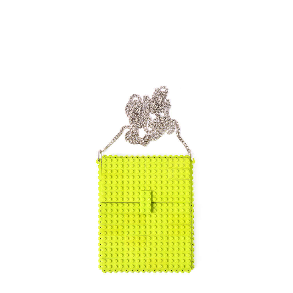 Lime hip clutch on a chain
