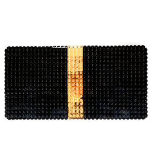 Black oversize bulk clutch with goldplated stripe