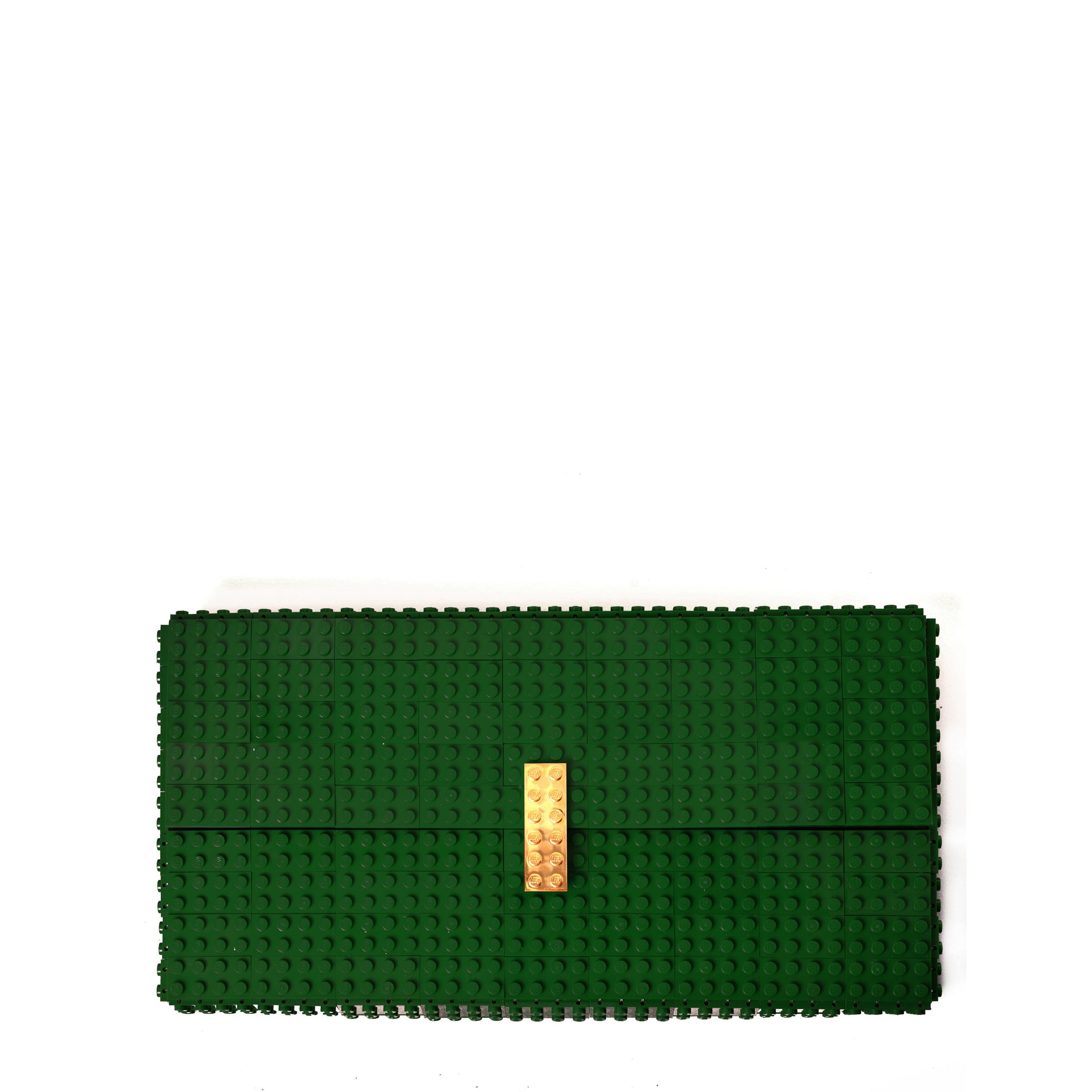 Dark green oversize bulk clutch with goldplated lock