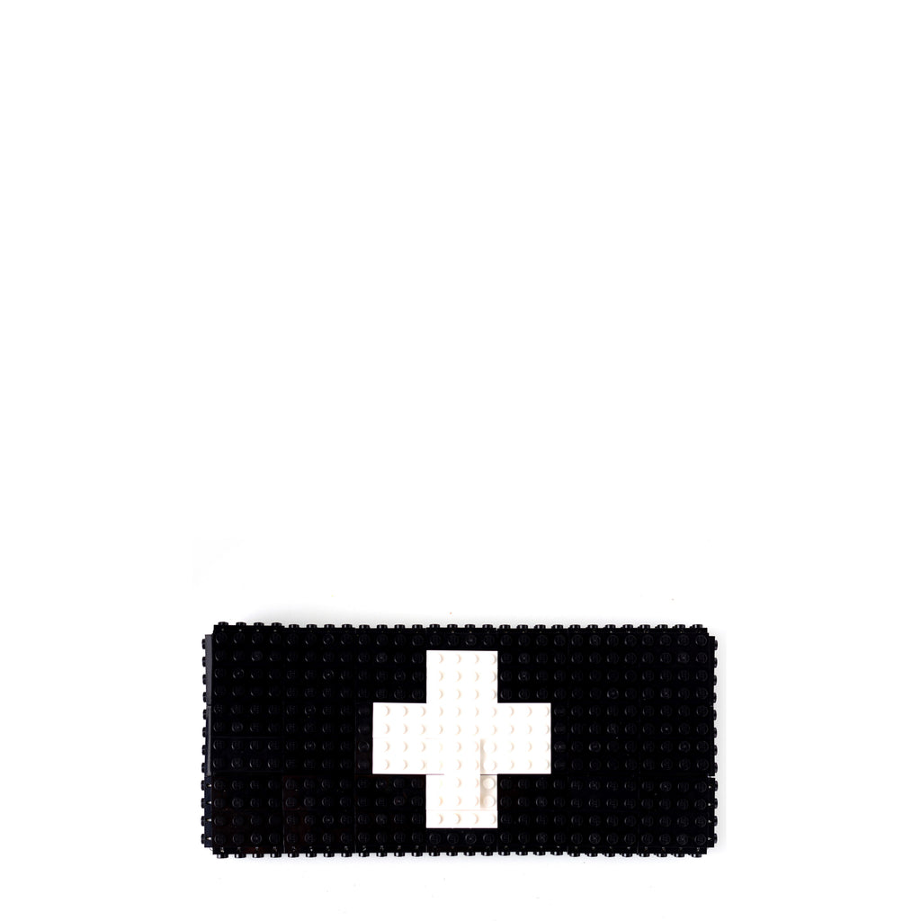 Black clutch with white cross