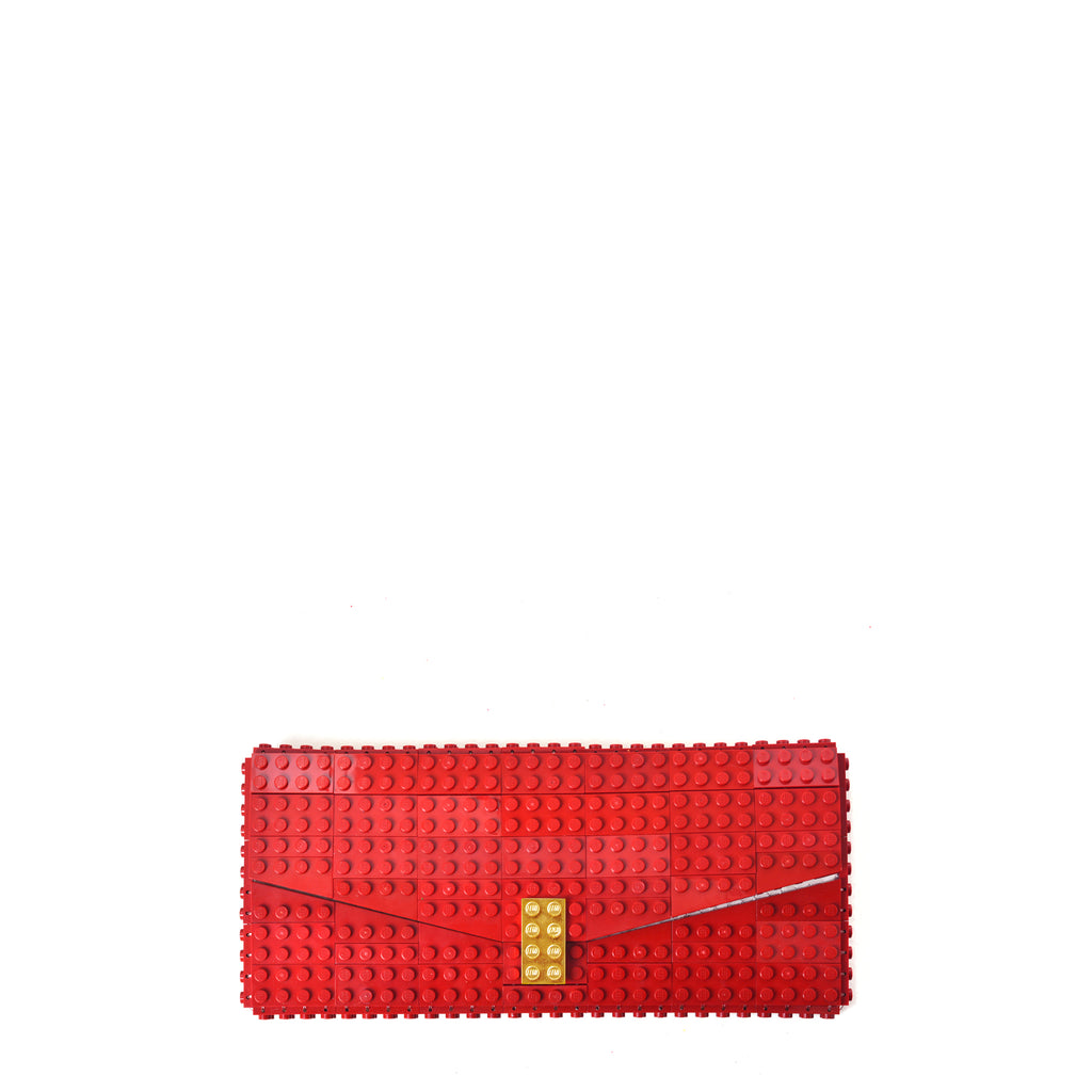 Dark red envelope flap clutch with goldplated lock