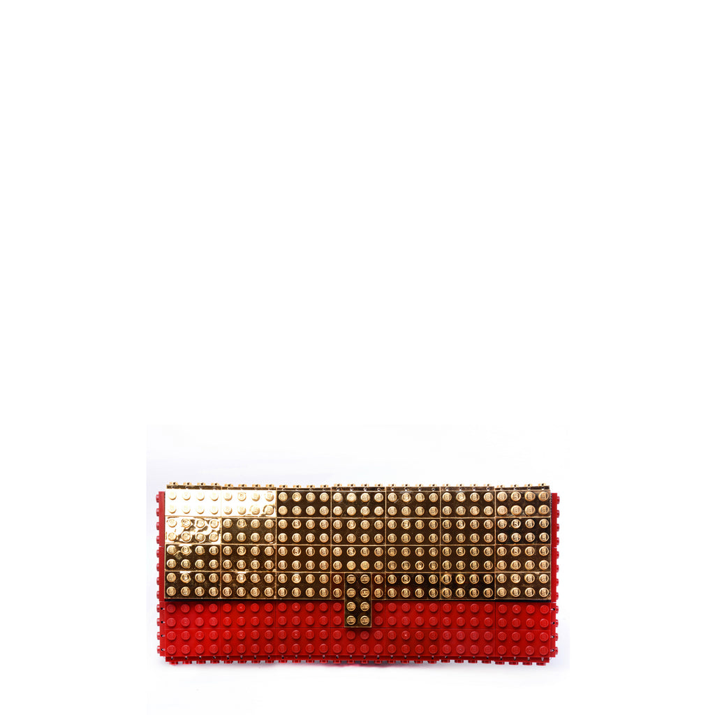 Dark red clutch with goldplated flap