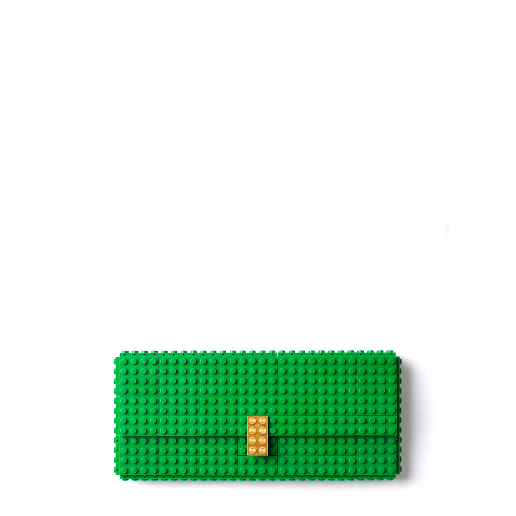 Green clutch with goldplated lock