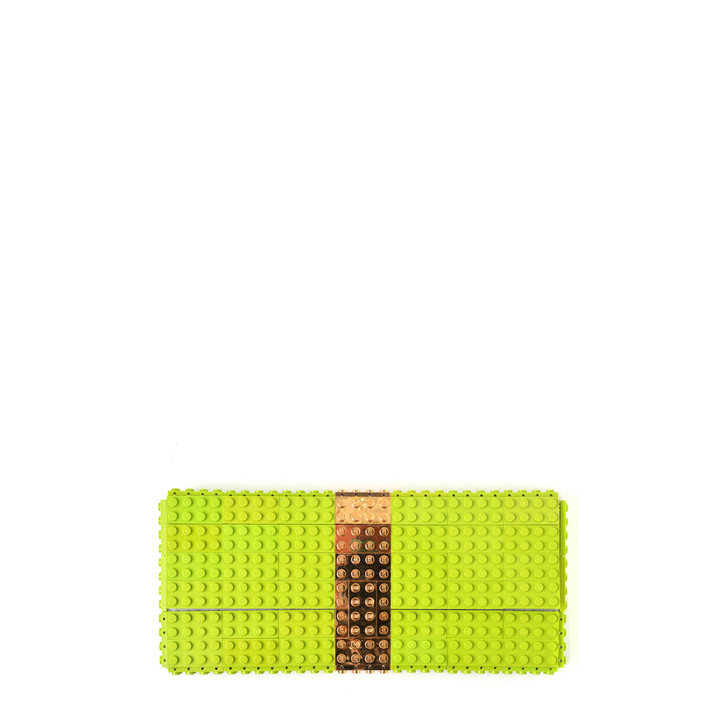 Lime clutch with goldplated stripe