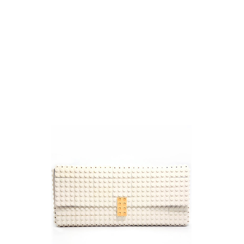 White clutch with goldplated lock