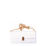 White clutch with goldplated lock and chain