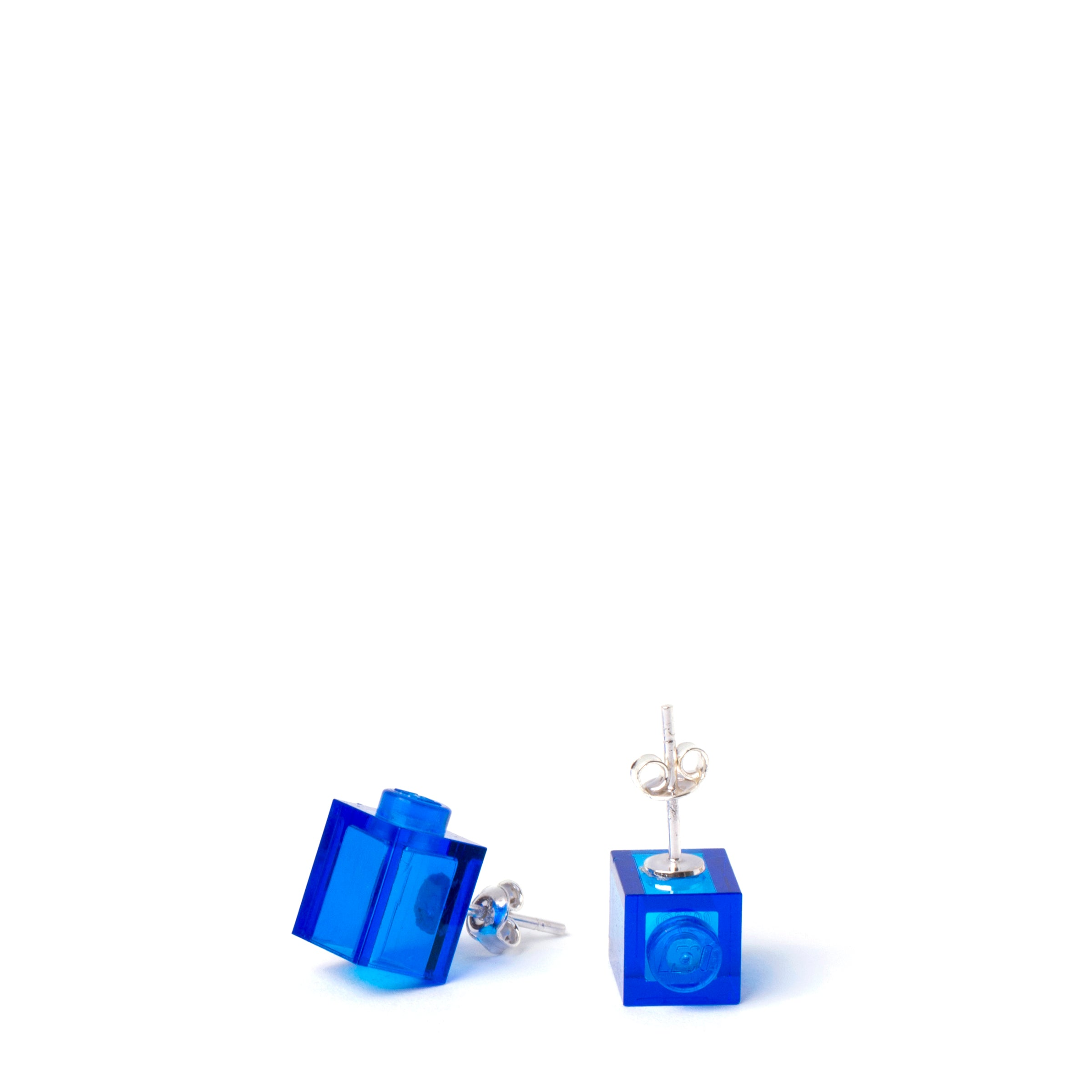 transparent blue brick studs