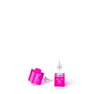 transparent pink brick studs