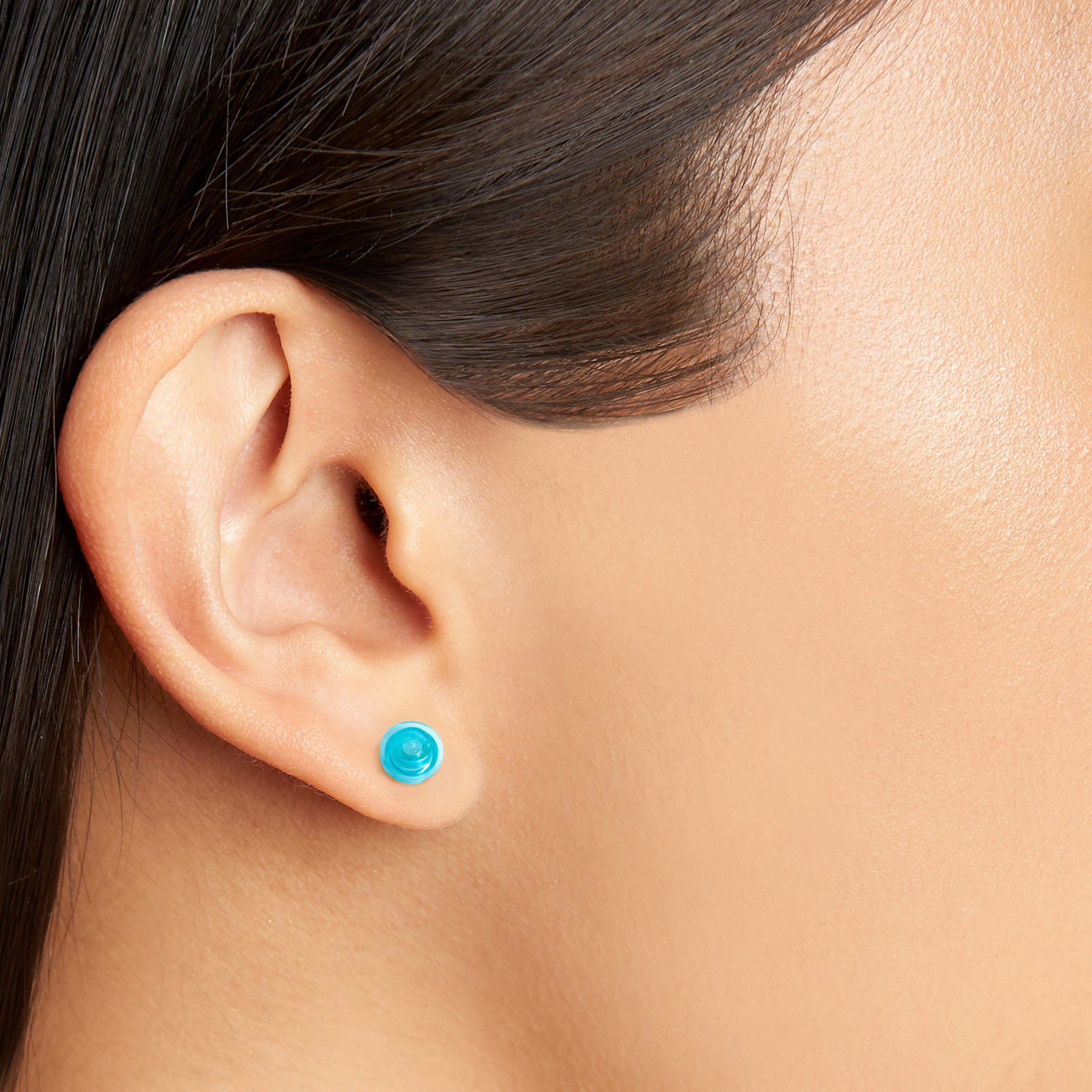 transparent light blue small round studs