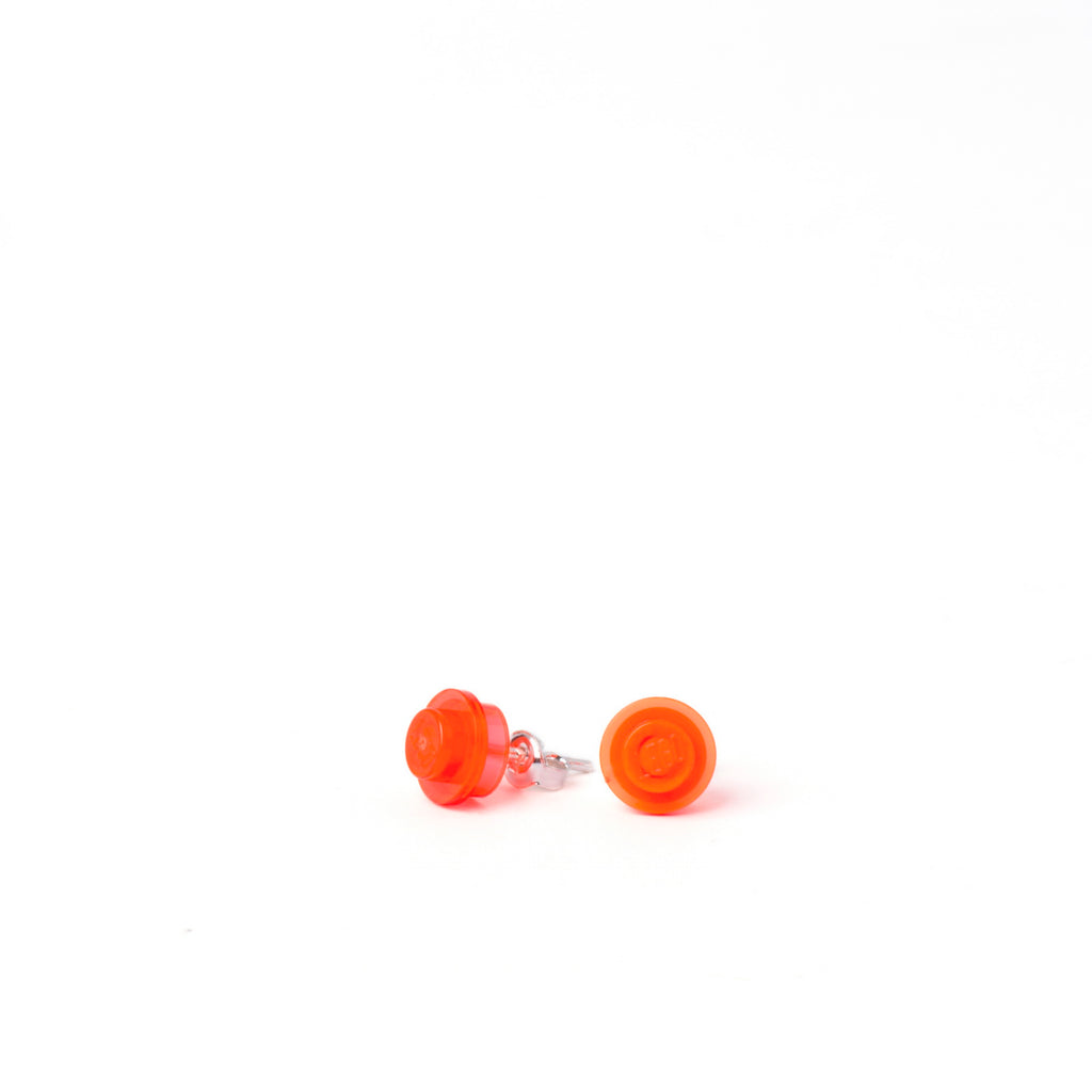 transparent neon orange small round studs