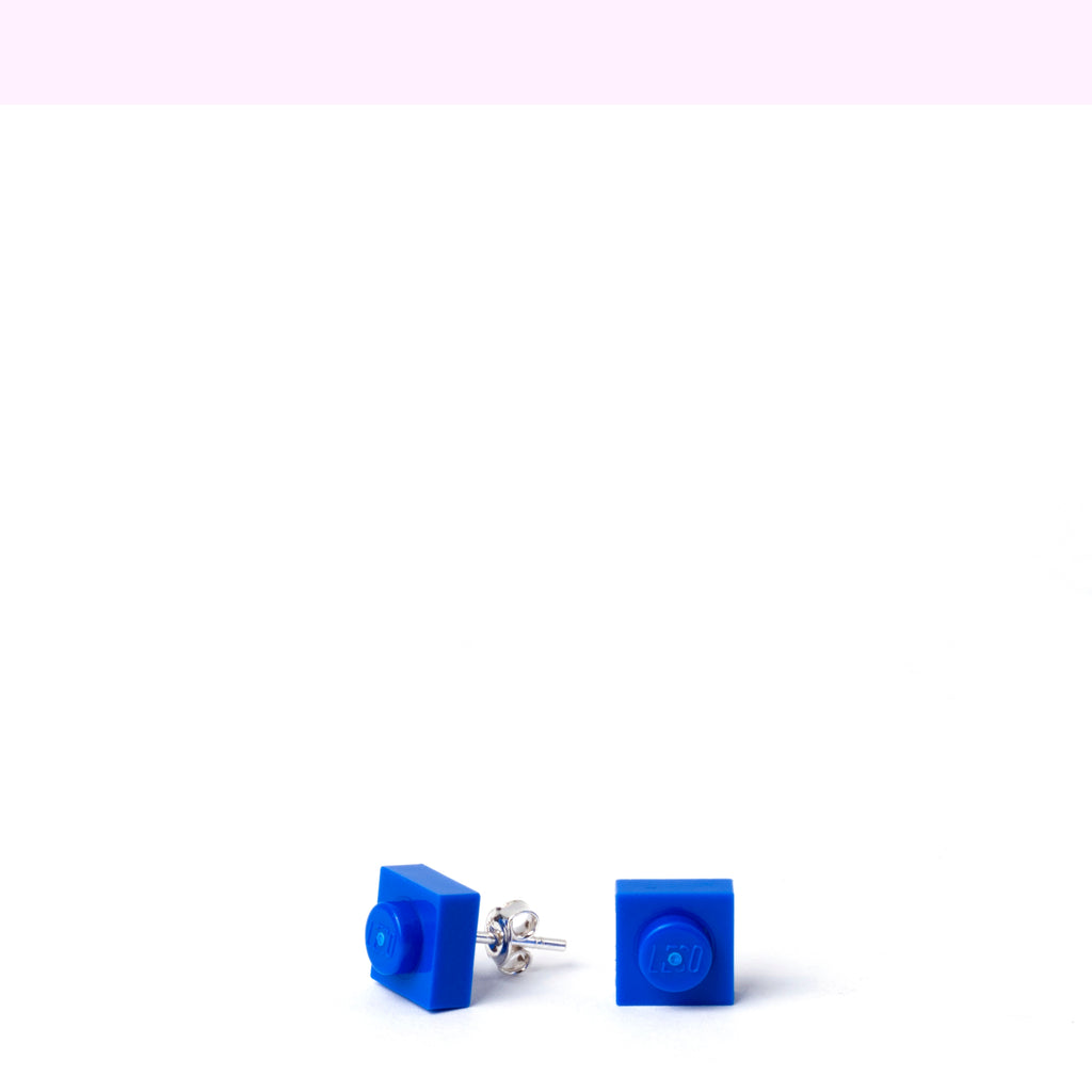 blue small square studs