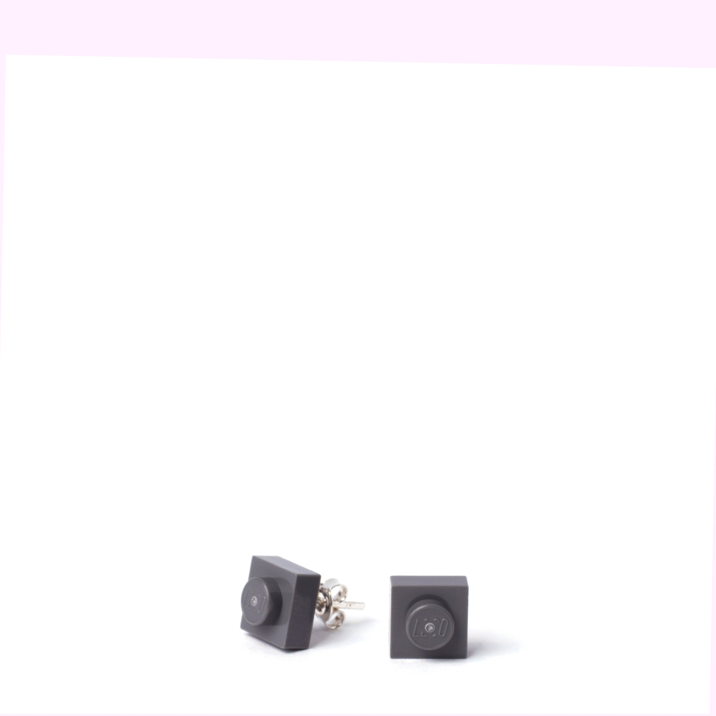 dark grey small square studs