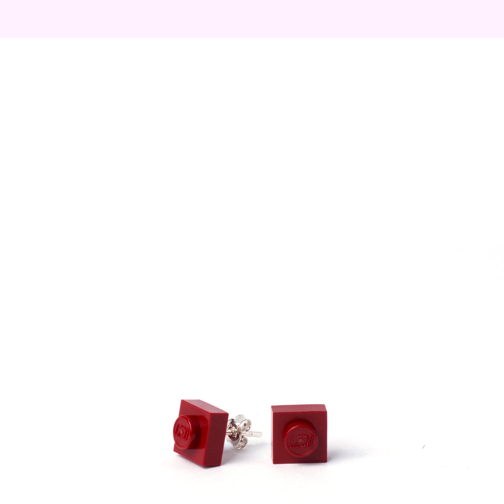 dark red small square studs