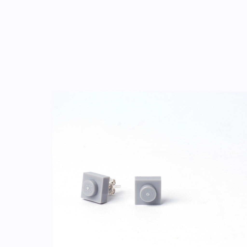 light grey small square studs