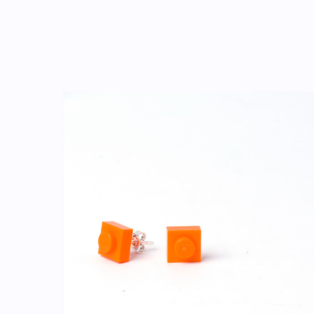orange small square studs