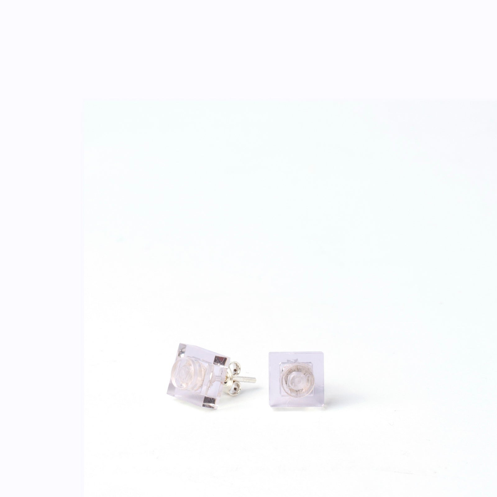 transparent small square studs