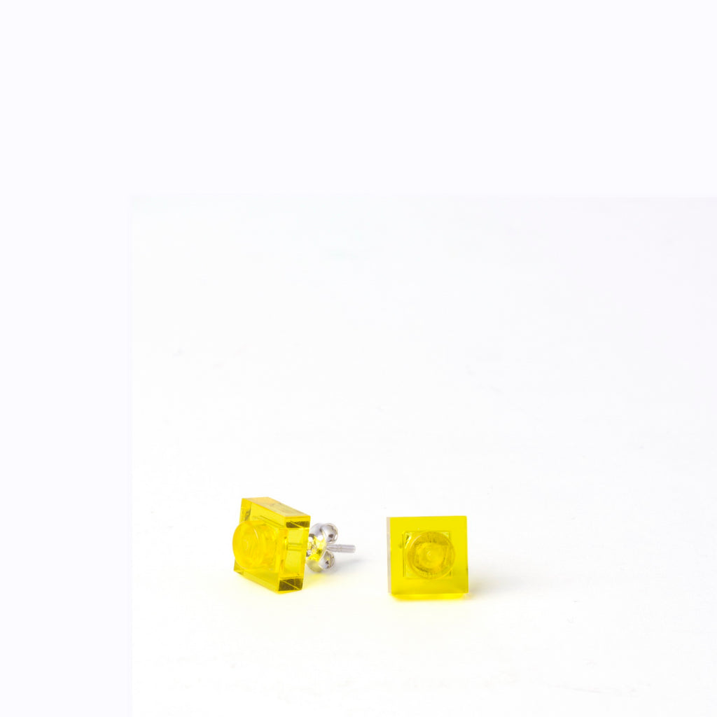 transparent yellow small square studs