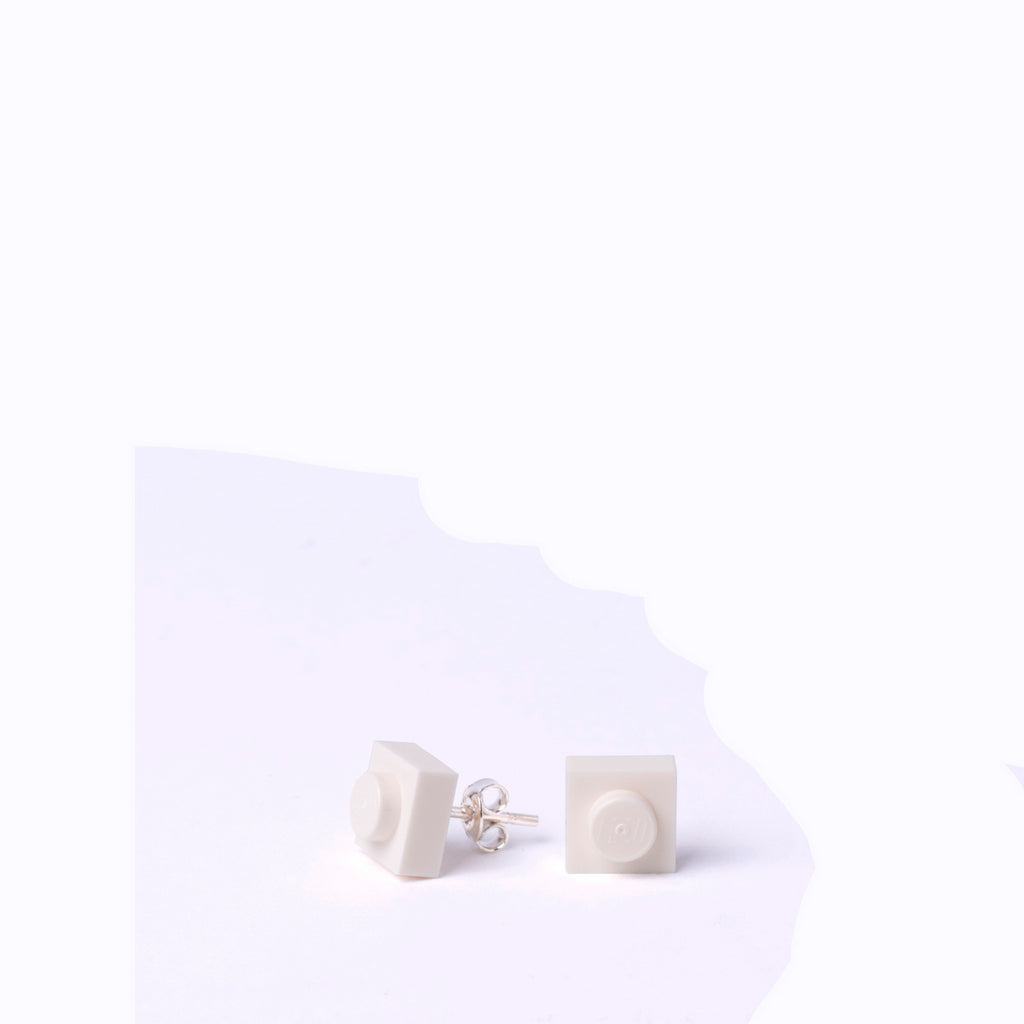 white small square studs