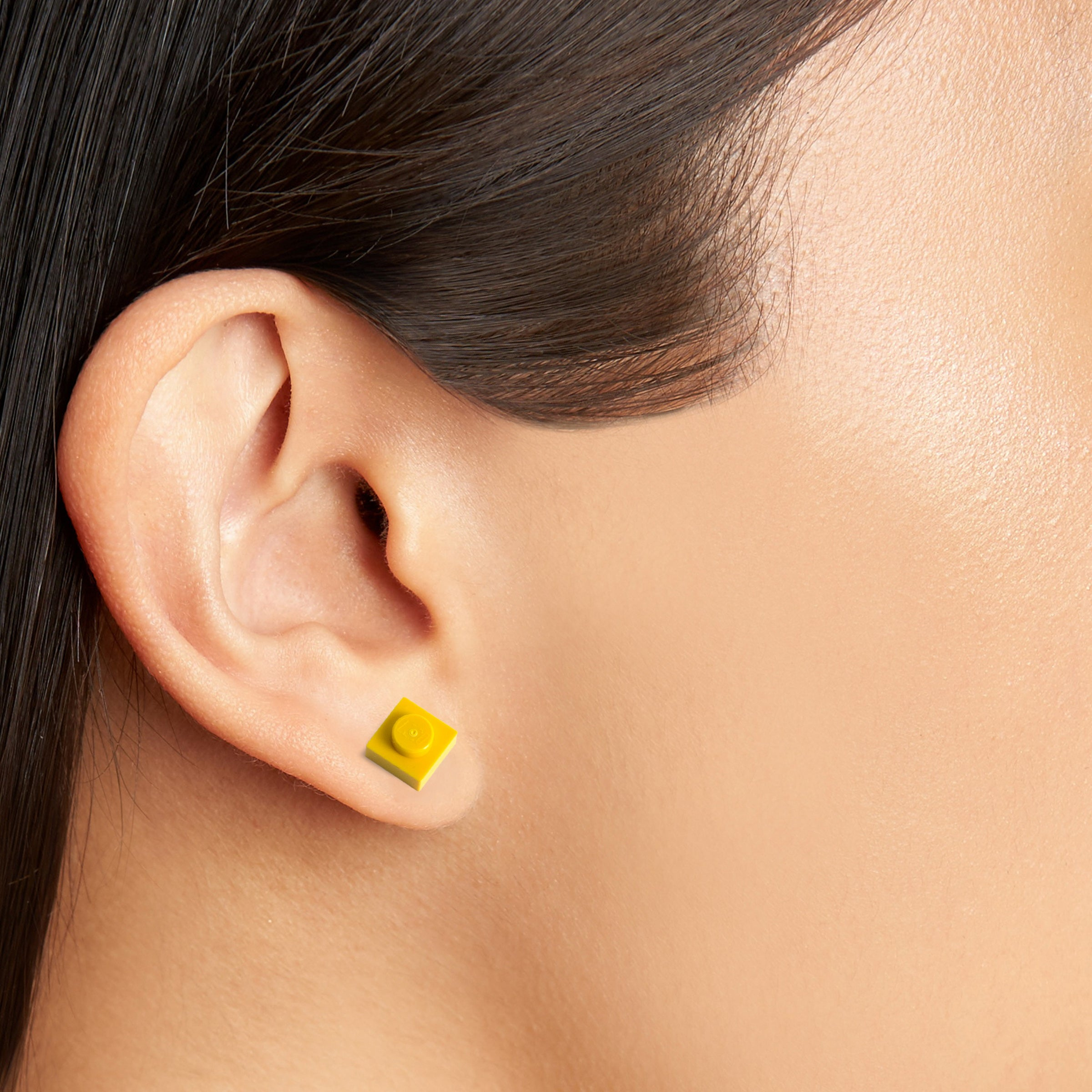 yellow small square studs