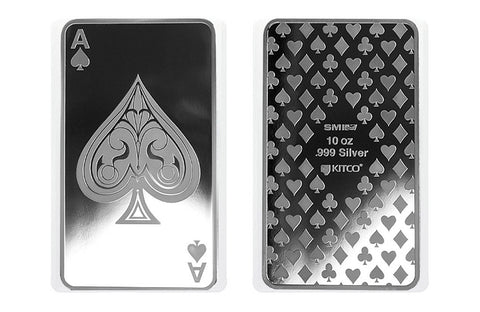10 oz Silver Bar - Ace of Spades