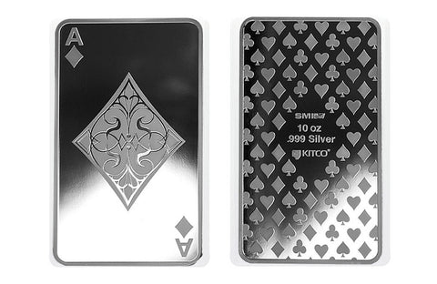 10 oz Silver Bar - Ace of Diamonds