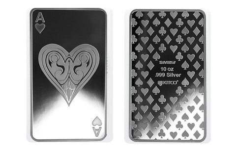 10 oz Silver Bar- Ace of Hearts