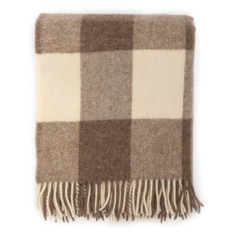 Beige Giant Check Wool Blanket