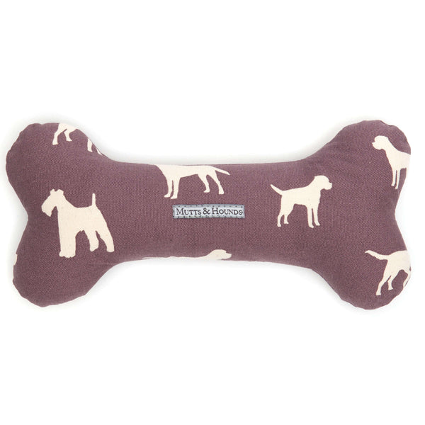 M&H Antiqued Plum Squeaky Bone Dog Toy