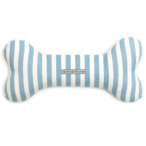 Chambray Stripe Squeaky Bone Dog Toy